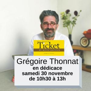 Grégoire Thonnat en dédicace à la ibrairie Mots en lignes à courbevoie samedi 30 novembre de 10h30 à 13h
