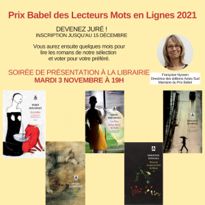 Prix Babel des lecteurs Mots en lignes 2021